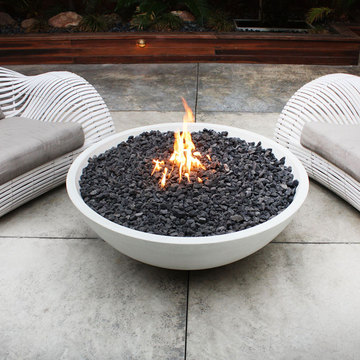 Modern gardening sale fire bowl rail planters at for Outdoor fire bowl
